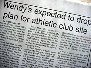 Wendy's expected to drop plan for athletic club site