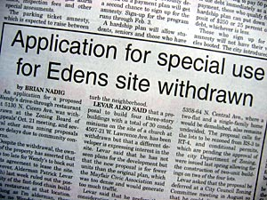 Application for special use for Edens site withdrawn